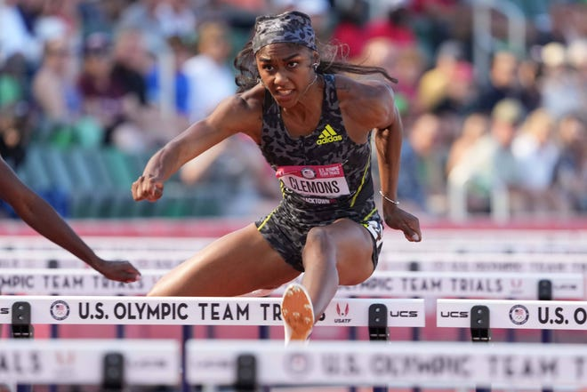 Former Buckeye Christina Clemons, left, finished third in the 100-meter hurdles to qualify for the Tokyo Olympics.