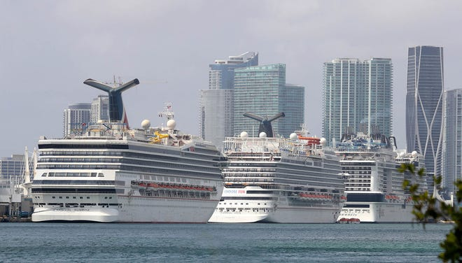 Cruise ships at the Port of Miami.