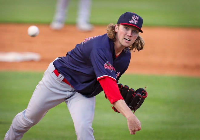 Adrian College graduate Tommy Parsons delivers a pitch for the Memphis Redbirds during Tuesday's game against the Toledo Mud Hens at Fifth Third Field in Toledo.