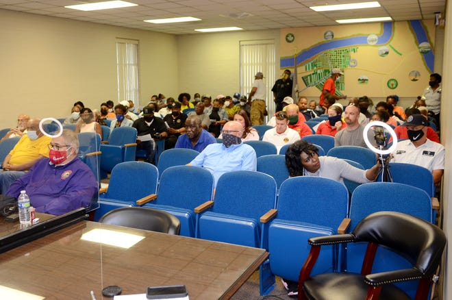 A large crowd attended the Donaldsonville City Council meeting June 22. Many spoke in opposition to the $7 monthly fee for fire and emergency services.