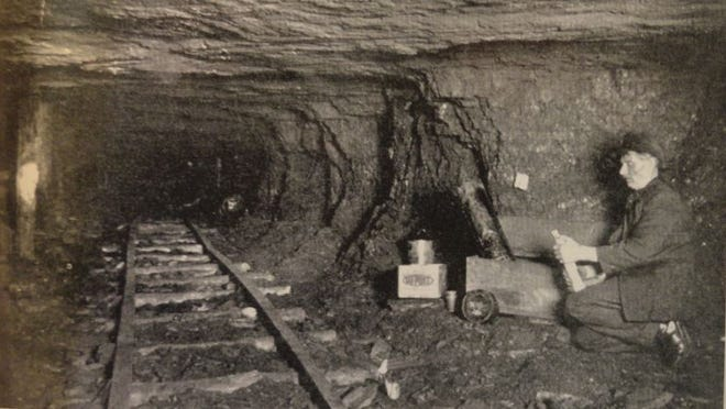Inside an anthracite coal mine. As youngsters in 1907, John Burke and Frank Lyons of Carbondale were showing a visiting boy from Port Jervis, William Clune, around in a mine, when they became lost. / Credit: The Pioneer City