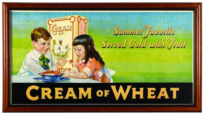This early cardboard Cream of Wheat trolley car sign auctioned online at AntiqueAdvertising.com for $200.