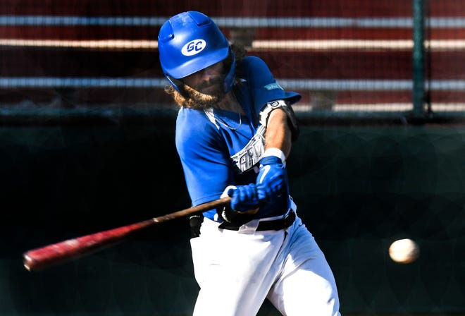 The Garden City Wind's Preston Rackley connects with a Salina Stockade pitch for a single Tuesday at Clint Lightner Field.  The Wind dropped the game, 13-8, to move to 2-1 in the five-game series with the Stockade.  The final game of the series will be at 6:35 p.m. today.
