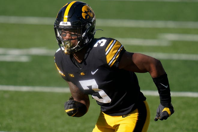 Iowa wide receiver Tyrone Tracy Jr. runs on the field during a game against Michigan State on Saturday, Nov. 7, 2020 in Iowa City, Iowa.