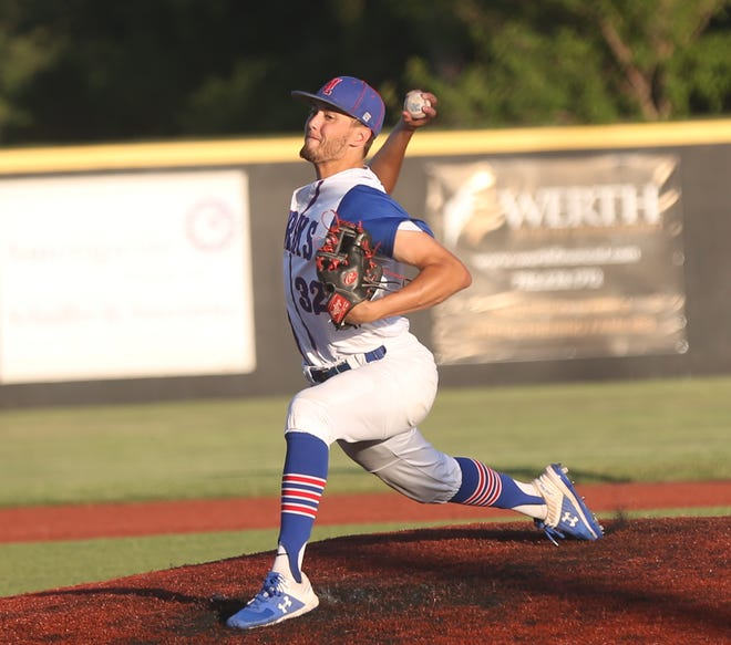 Larks' pitcher Jackson Blue brings a pitch to the plate on Tuesday against the Boulder Collegians.