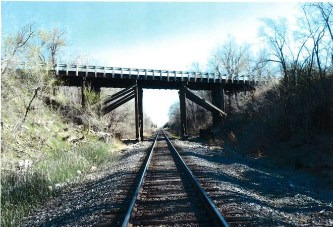 The 135-foot-long timber bridge on 43rd Avenue across the Union Pacific tracks built in 1943, which was demolished and replaced with one that is nearly 100 feet longer.