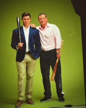 """Miami Marlins prospect Griffin Conine, who plays for Beloit against the Peoria Chiefs in the High-A Central league, pictured with his father, former MLB All-Star and """"Mr. Marlin"""" Jeff Conine."""