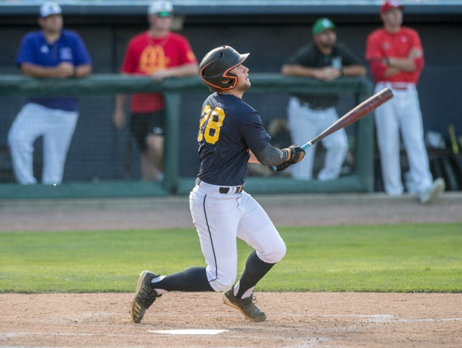 The North team's Tyler Bickers of Macomb watches his hit during the small schools game of the 30th annual McDonald's All-Star series Tuesday, June 22, 2021 at Dozer Park in Peoria.