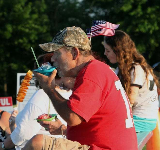 Eating a refreshing snow cone was the choice of this man that attended the 2020 Moberly July 4 Extravaganza held at Howard Hils Athletic Complex. The annual event returns to this site Sunday, July 4 with a $28,000 fireworks showcase to culminate the day's festivities for the public.