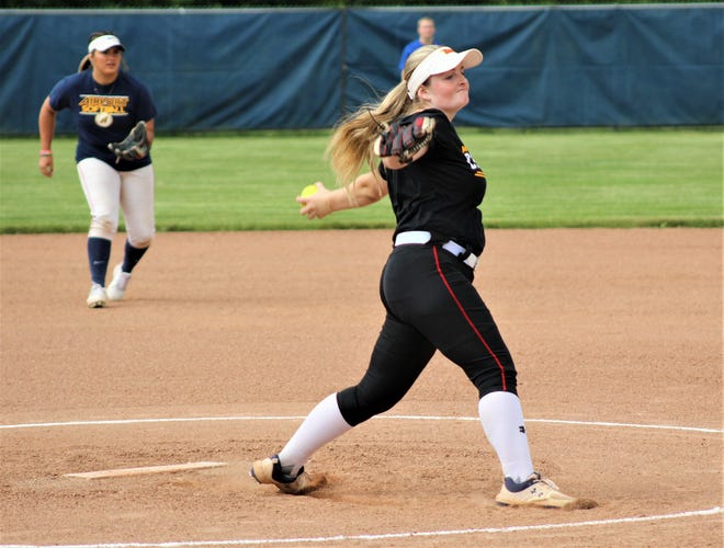 Milan graduate Emily Raubuch pitches during the 2020 Monroe County All-Star Game on Tuesday, June 22, 2021 at Airport.