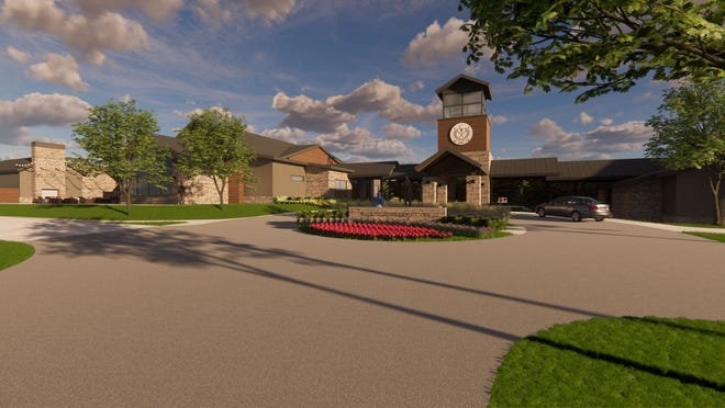 The renovation of KickingBird Golf Club will include demolition of the existing clubhouse and replacement with a new 13,384-square-foot clubhouse, shown in this design rendering.