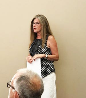 Sarah Michaels appears before the Chenoa City Council on Tuesday to provide an update on recently planted trees in the community.
