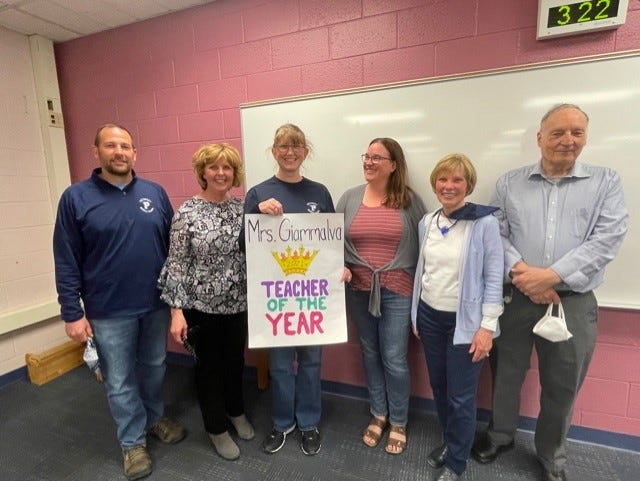 Heather Giammalva (third from left) received the Teacher of the Year award on May 14 during a surprise celebration at Petoskey Middle School. Pictured with her are Teacher of the Year Rotary Committee members.