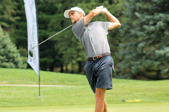 Harvin Groft tees off on the first hole of the semifinals of the State Am golf championship last July at Nashua Country Club.