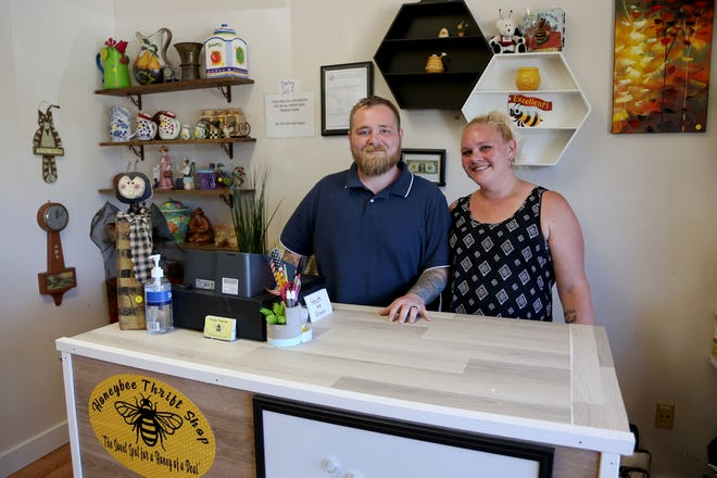 Honeybee Thrift Shop owners Cody and Tiffany Eaton say their new Somersworth store is named in part after a Blake Shelton tune that was their wedding song.