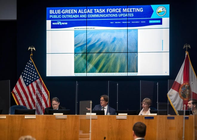 The state's Blue-Green Algae Task Force members, James Sullivan, left, Mark Rains, Evelyn E. Gaiser and Michael Parsons meet at the South Florida Water Management District on June 23, 2021 in West Palm Beach, Florida. GREG LOVETT/PALM BEACH POST