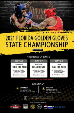 The Florida Golden Gloves tournament will be held in West Palm Beach this week, starting Thursday and running through Saturday.