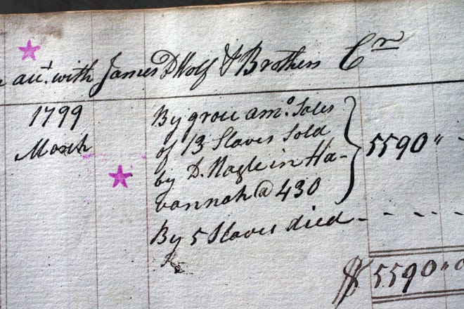 """A waterfront store ledger at the Bristol Historical Society details the sale of 13 slaves in """"Havannah."""""""