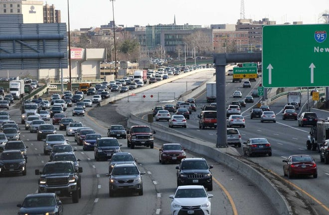 Vehicles snake through the Providence Viaduct on Route 95 in 2019.