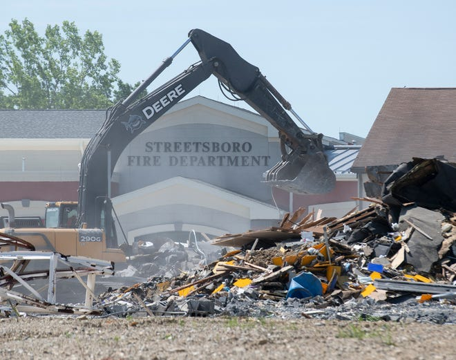 The old Streetsboro fire station was demolished on Wednesday, June 23. The new station is visible on the S.R. 43 location.