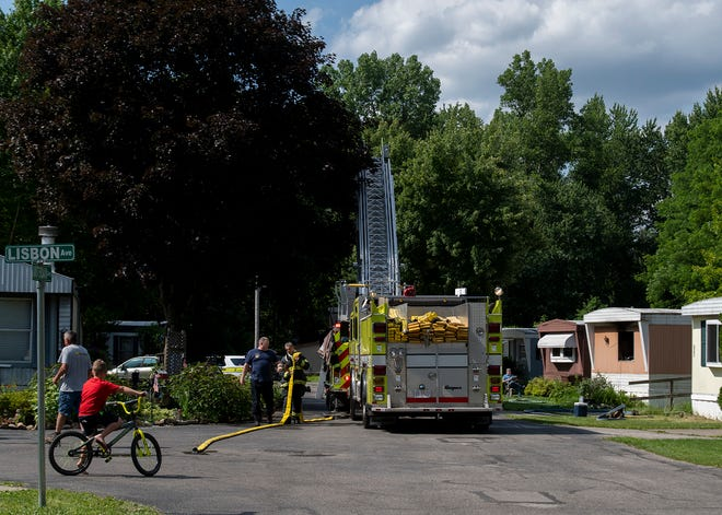 Kent fire department responded to mobile home fire at Whispering Pines on Amsterdam Avenue.