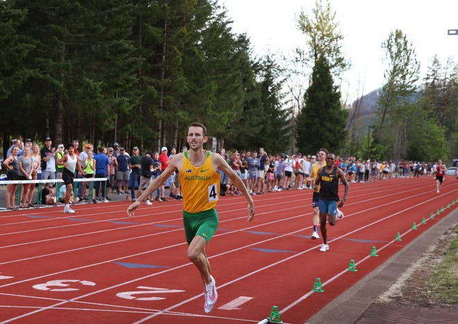 Oregon Duck Charlie Hunter crosses the finish line of the 800 meters in 1:44.35 during the McKenzie International Track Meet in Blue River. The time secured an Olympic qualifier for the Australian.