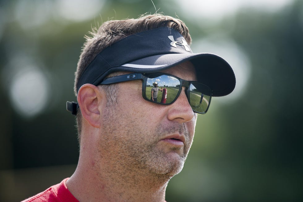 Tony Ambrogio, shown during his first practice as Jefferson's head coach in 2018, was approved Tuesday as Belvidere's new football coach. He has also been the head coach at Rockford Lutheran and Christian Life, taking over a team after a losing season all four times.