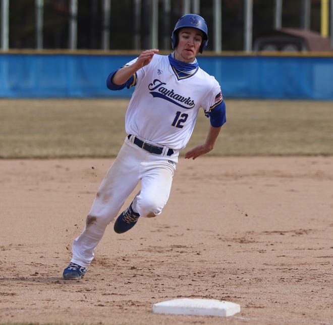 Shane Thompson runs the bases during a Muskegon Community College baseball game. Thompson. a Sault Ste. Marie native, is Muskegon CC's Male Athlete of the Year.