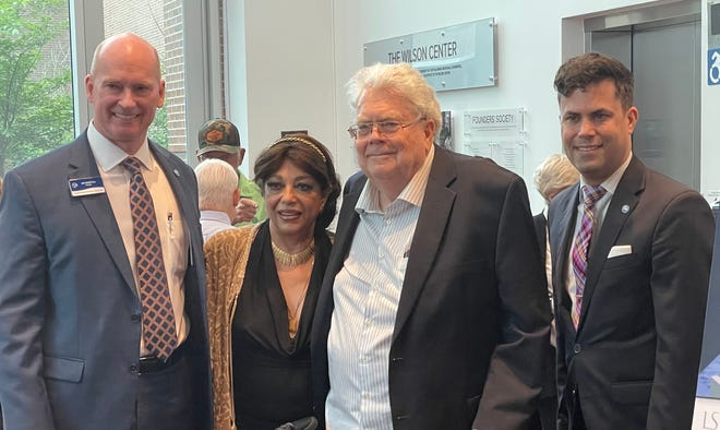 Pictured from left: Cape Fear Community College president Jim Morton, Roya Weyerhaeuser, Henry Weyerhaeuser, and CFCC's vice president of advancement and the arts, Shane Fernando.