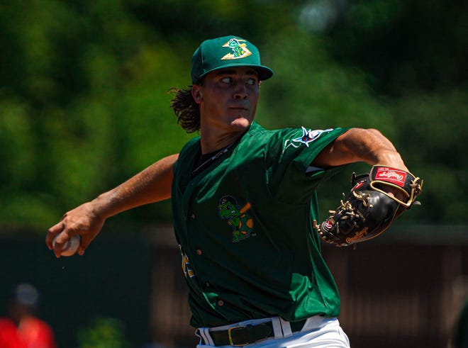 Former Jackson High School standout Kyle Nicolas delivers a pitch for the Beloit Snappers, a high Class-A affiliate of the Miami Marlins.