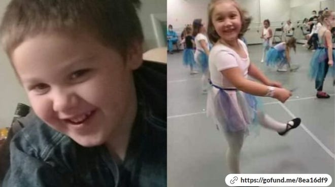 Zackory Landis, left, and Zoey Landis, right, were injured in a traffic crash Sunday.