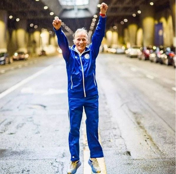 """World record-holding distance runner Stan Cottrell, 78, will stop Thursday in Topeka as part of a coast-to-coast """"Friendship Run"""" aimed at raising money for charity while spreading kindness, positivity and unity."""