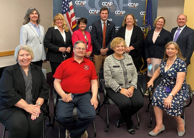 The County Commissioners Association of Pennsylvania Center for Excellence in County Leadership, a professional development program for local officials, recently graduated 11 leaders from its intensive two-and-a-half-day training program. The 2021 graduates include, front row, seated (left to right): Deb Baughman, Bedford County commissioner; Scott Rastetter, Erie County council member; Loretta Spielvogel, Lawrence County commissioner; and Becky Ann Bartlett, Northampton County deputy director of administration. In the back row are: Krista Gromalski, Pike County communications director; Colleen Dawson, Somerset County commissioner; Elizabeth Arnold, Susquehanna County commissioner; Josh Maxwell, Chester County commissioner; Molly Mudd, Adams County solicitor; Stacy Richards, Union County commissioner; and Michael Rivera, Berks County commissioner.