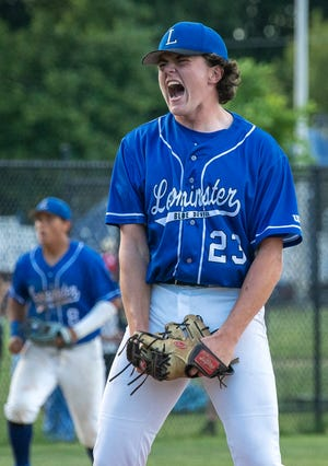 Leominster right-hander Evan McCarthy celebrates after throwing the final strike in Wednesday's Division 1 quarterfinal win over St. John's.
