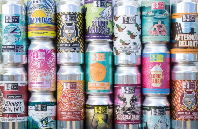 A collection of cans designed by Adam Chancey for Gainesville's Swamp Head Brewery. [Molly Eveleth/Swamp Head Brewery]