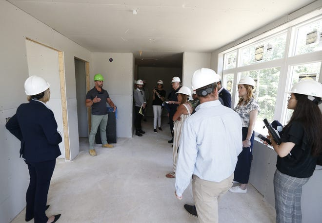 The Gordon H. Mansfield Veterans Community is a new apartment building that is under construction. The 70 unit building will provide permanent housing for veterans including those who are transitioning from homelessness. Mark Allen, project manager for PS&S architecture and engineering, gives a tour of the construction site.                                       Tinton Falls, NJWednesday, June 23, 2021