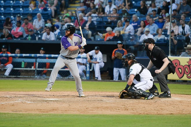 Former North Buncombe star Alex Destino (23) went 1-3 with two runs scored for the Winston-Salem Dash during Tuesday's game against the Asheville Tourists at McCormick Field. The Dash's series with the Tourists continues through Sunday.
