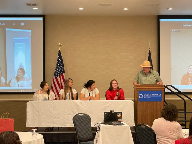 Ronan High School students (from left to right) Sharissa Couture, Alyssa Pretty On Top, Areanna Burke and Brett Myers addressed the state's missing Indigenous persons task force on Wednesday.