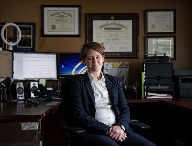 Attorney Kate Flood in her office at Flood Family Law.