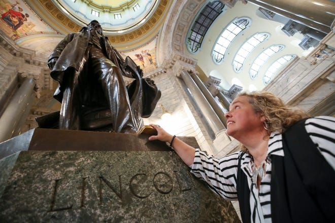 Virginia Moore, Executive Director of the Kentucky Commission on the Deaf and Hard of Hearing, said that she always came to rub the toe of the boot of the Abraham Lincoln statue in the Capitol rotunda before the Governor's daily COVID-19 press conferences.