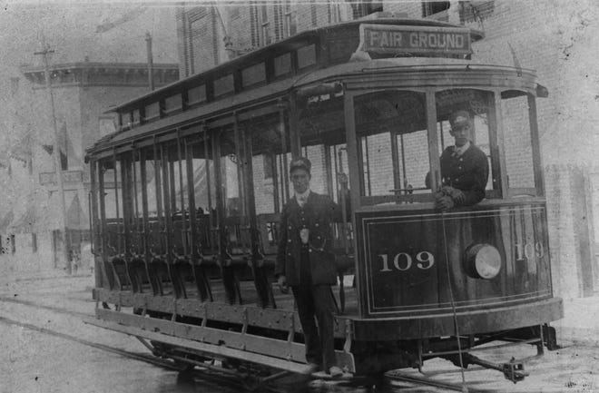 A Union Traction streetcar in Muncie is pictured on the way to the Delaware County Fairgrounds.