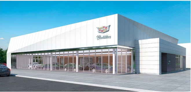 A rendering of the exterior of a new Andrews Cadillac Mt. Juliet dealership planned for Pleasant Grove Road.