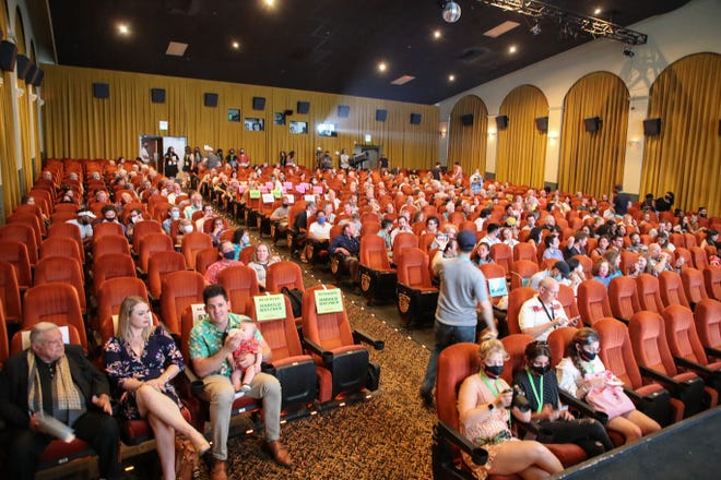 People attend the opening night of the Palm Springs International ShortFest, June 22, 2021.