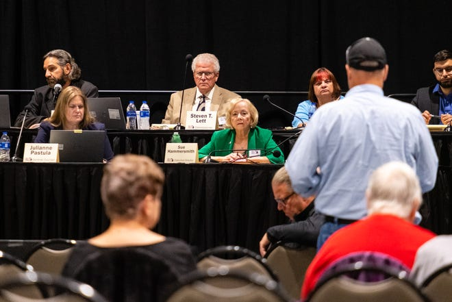 A man addresses the Michigan Independent Citizens Redistricting Commission during a public hearing Tuesday, June 22, 2021, at the Blue Water Convention Center in Port Huron.