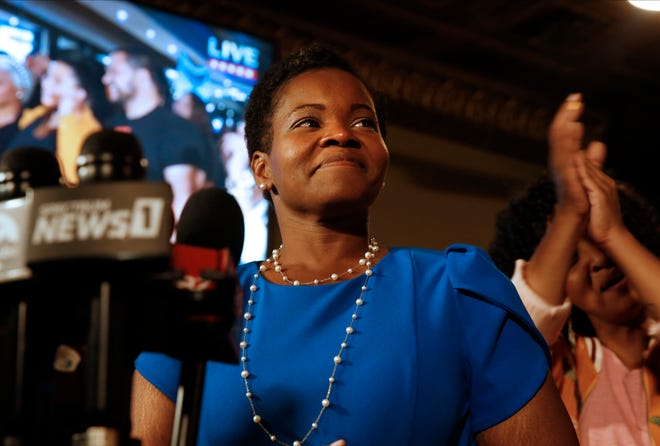 Democratic Buffalo mayoral primary candidate India Walton delivers her victory speech after defeating incumbent Byron Brown, on Tuesday, June 22, 2021 in Buffalo, N.Y.