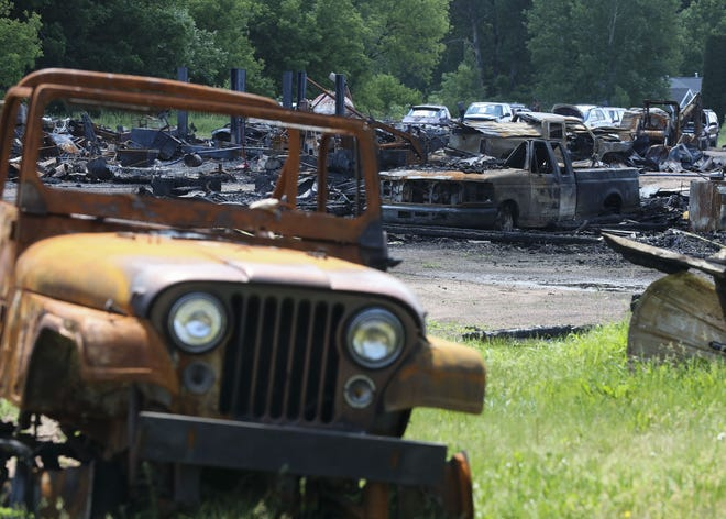The remains of Grundman's Self Service Garage, 143771 Packer Drive in the town of Marathon, are seen on June 10. The garage was destroyed in a fire May 1.