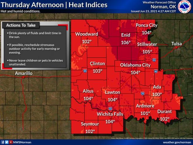 Dangerous heat index on Thursday
