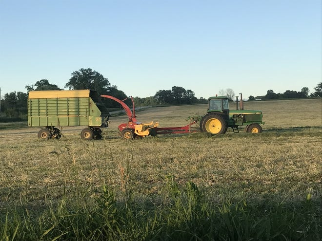 Finishing up first crop hay in east central Wisconsin.