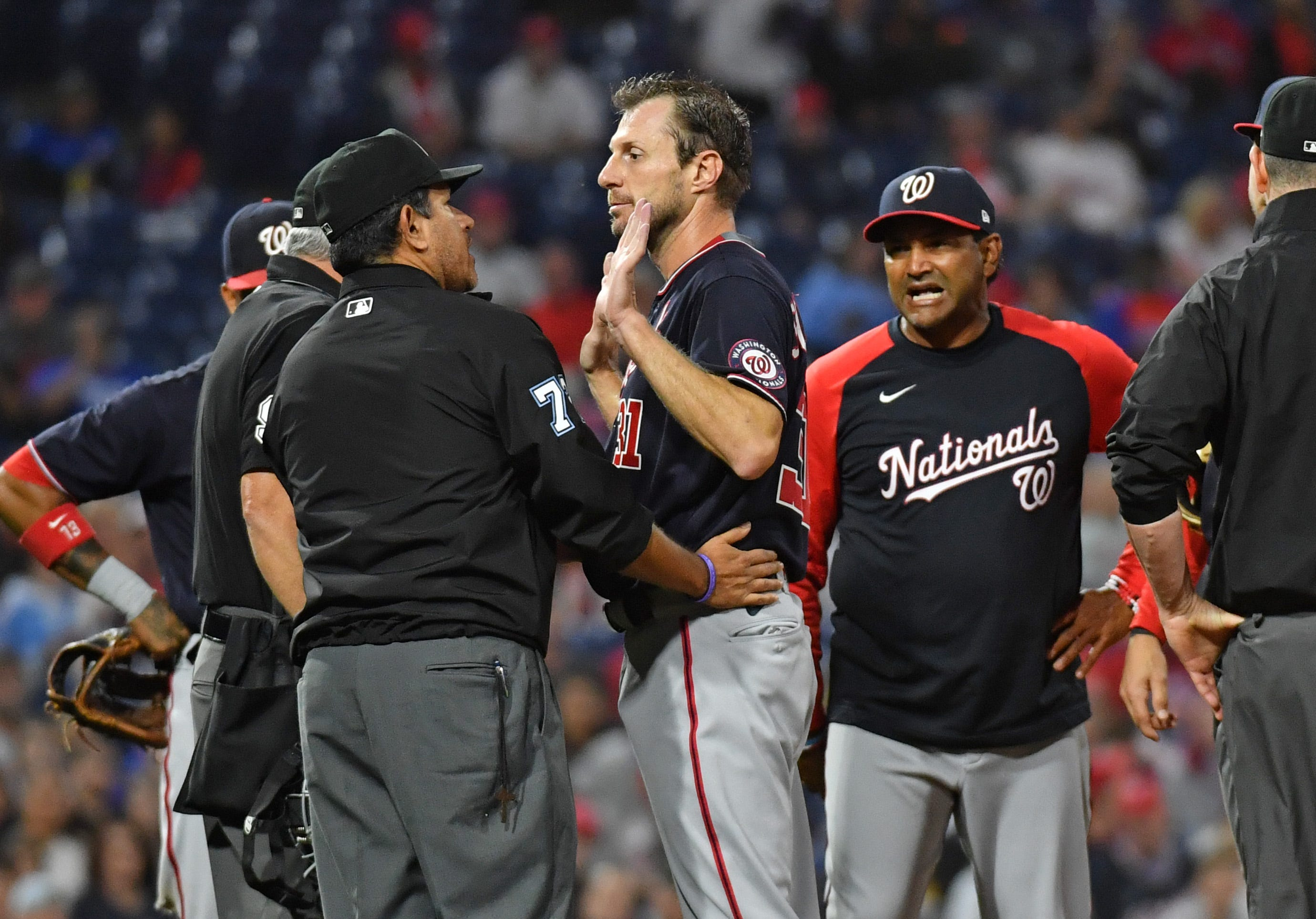 Nationals  Max Scherzer visibly annoyed when umpires check him for illegal substances for a third time
