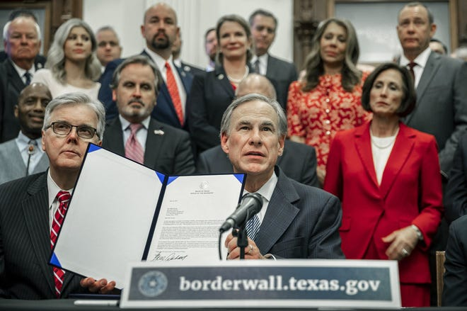 Texas Gov. Greg Abbott holds a press conference in Austin on June 16 to reveal the details of his plan to build a wall to secure the border with Mexico. He also signed a letter to provide $250 million in state funds to begin construction.